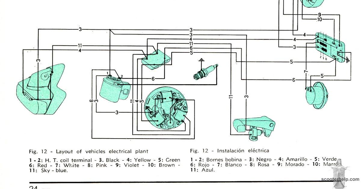 1967 Vespa SS180 (VSC) Wiring (without battery)