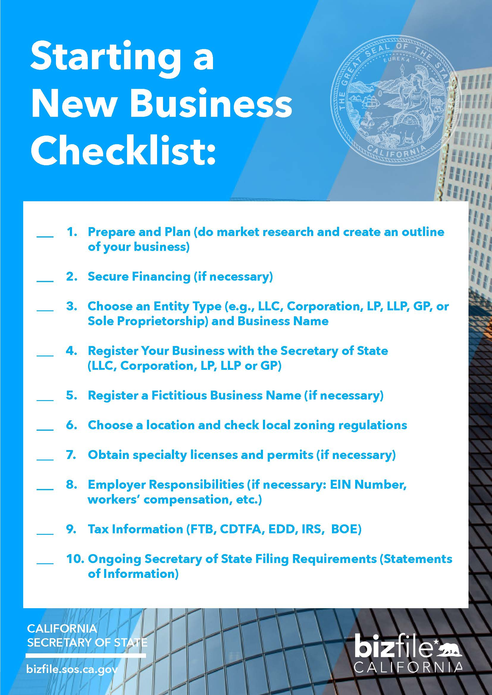 Start A Startup Company Starting A Business Checklist California Secretary Of State