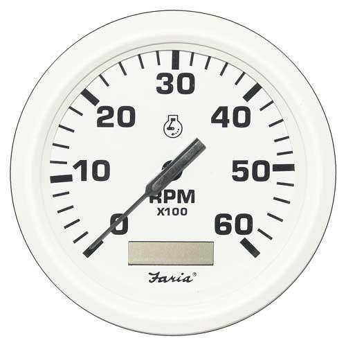 Tachometer Faria Marine 6000 with Hourmeter Dress White TC9124 4