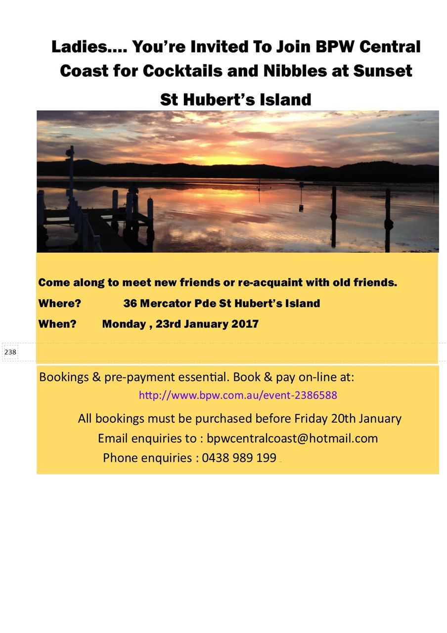 St Hubert Phone Number Bpw Australia Central Coast Cocktails Nibbles At Sunset St