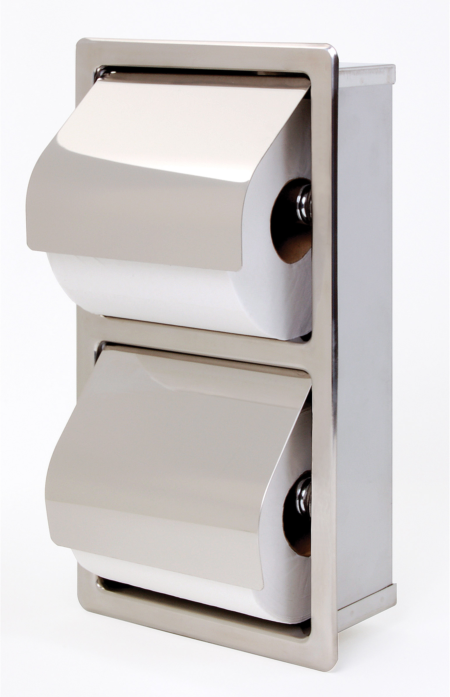 Tp Dispenser Recessed Hinged Hood Stacking Rolls Toilet Tissue