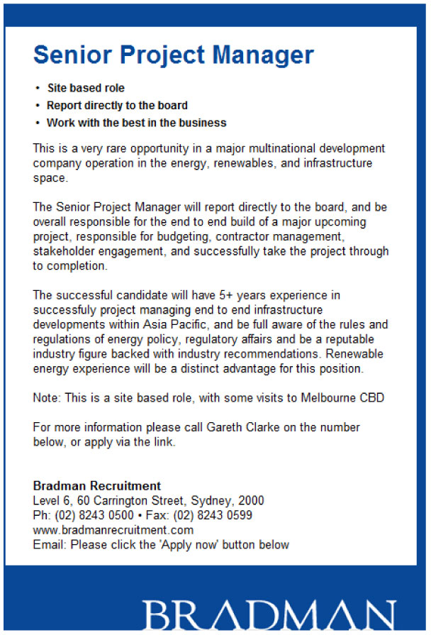 australia project manager resume