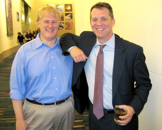 Dogs and cats, living together -- Republican Rick Quinn and Democrat James Smith at the Benjamin victory party./Brad Warthen