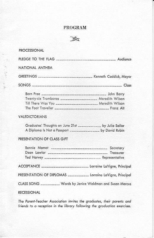 Graduation Myra Bradwell School Class of 1967