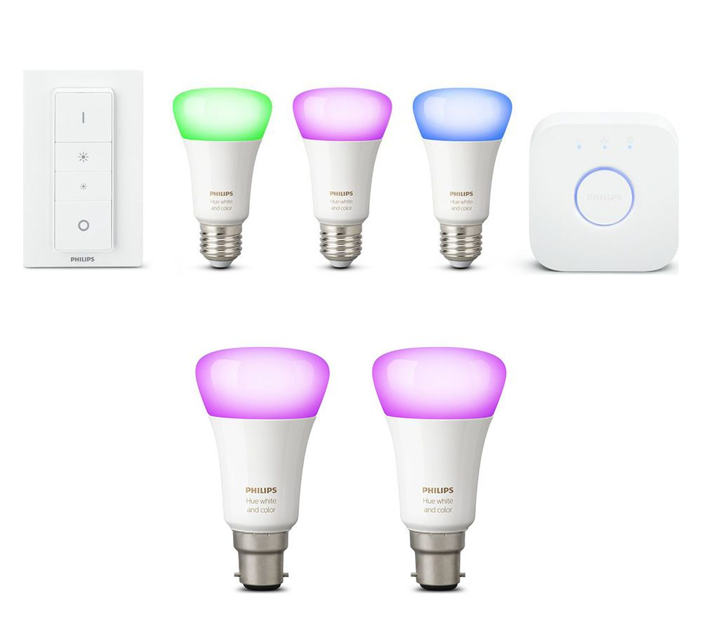 Philips Hue Starter Kit E27 Philips Hue White Colour Ambience E27 Smart Bulb Starter Kit 2 B22 Wireless Bulbs Bundle