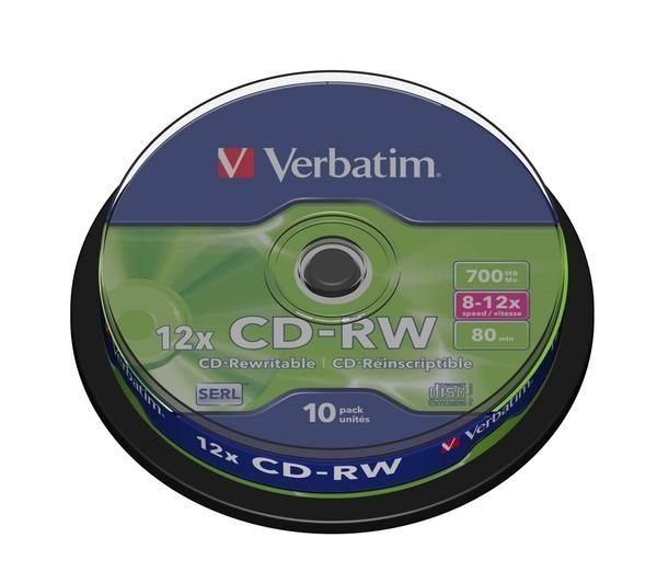 VERBATIM 12x Speed CD-RW Blank CDs - Pack of 10 Deals PC World