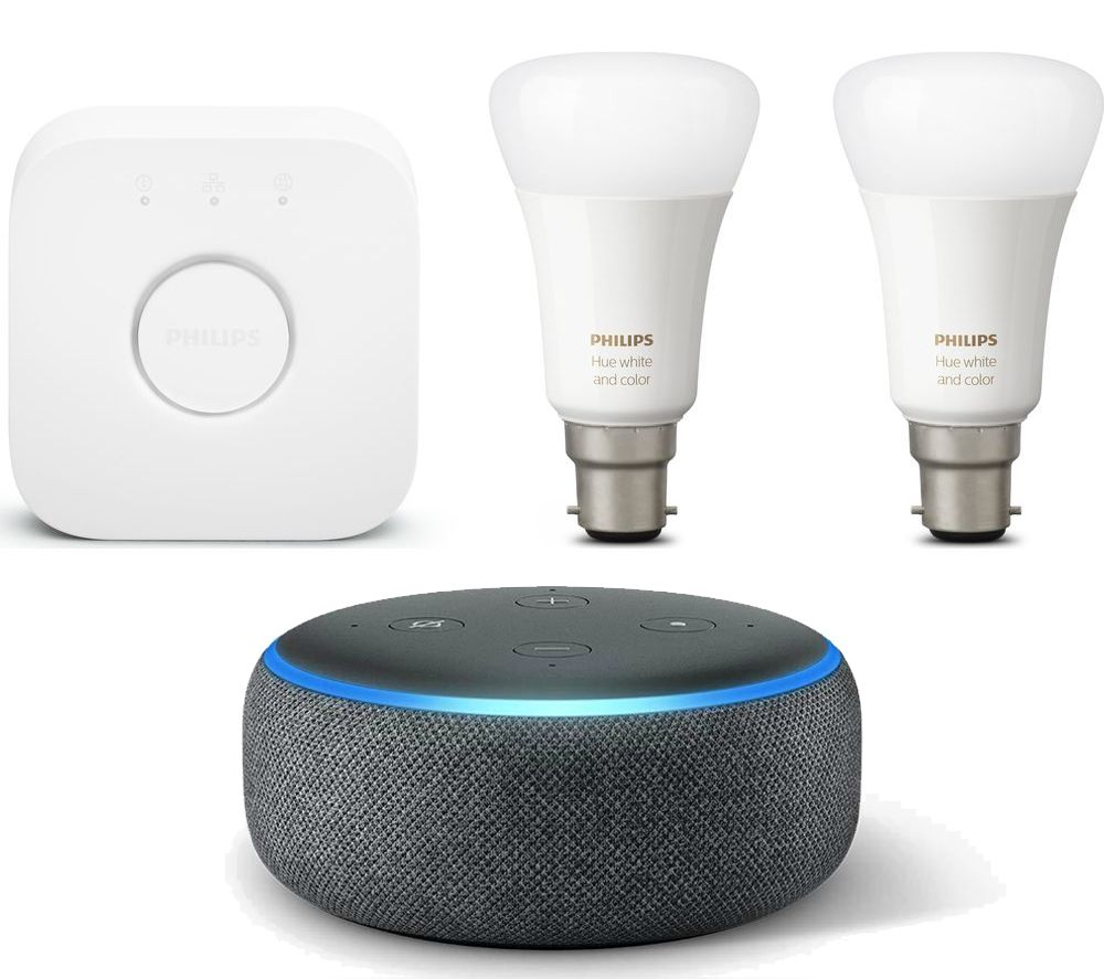 Philips Hue Starter Kit E27 Philips Hue White And Colour Ambiance Mini E27 Smart Bulb Starter Kit Echo Dot 2018 Bundle Charcoal