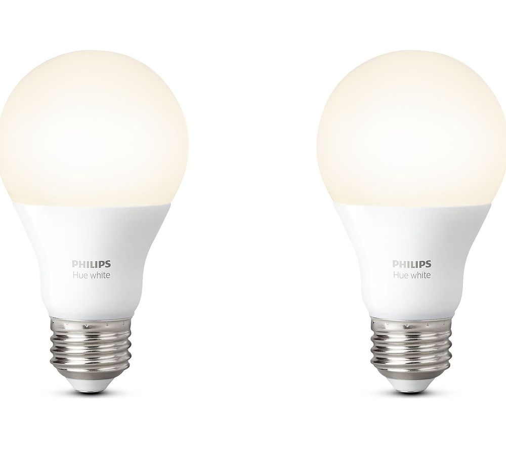 Smart Led Bulb Philips Hue White Smart Led Bulb E27 Twin Pack Echo Heather Grey Fabric