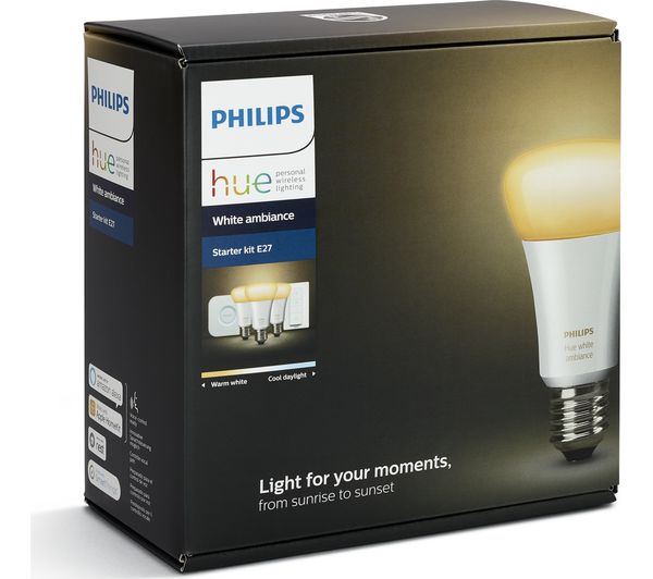 Philips Hue E27 Color Starter Kit - Richer Colors Buy Philips Hue White Ambience Smart Bulb Starter Kit - E27 | Free Delivery | Currys