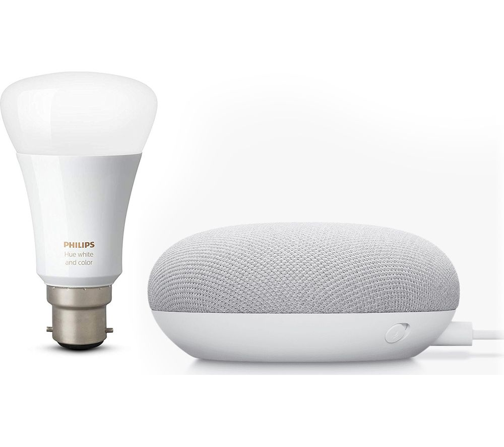 Buy Google Nest Mini Philips Hue White Bluetooth Led B22 Bulb Bundle Chalk Free Delivery Currys