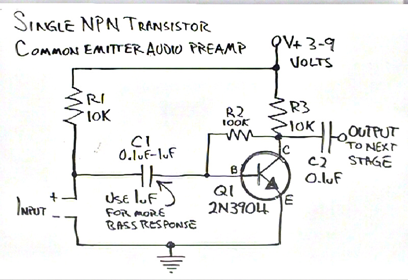 electret microphone preamplifier 1 transistor