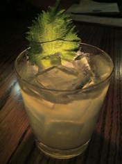 "Oba - shiso leaf with ""Beefeater"" gin and lemon juice"