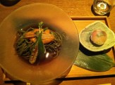 Chilled green tea buckwheat noodles with Santa Barbara, CA sea urchin and a chef's selection of temari zushi