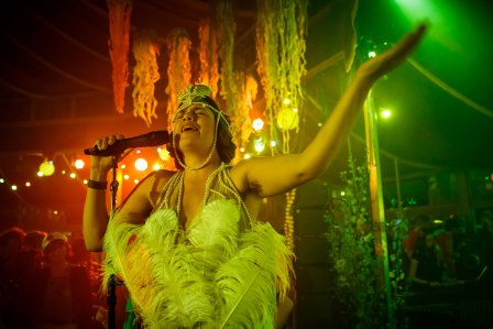 Molly Carroll performs in the Spiegeltent at La Bordee d'Branchage: The Codfish Ball, Branchage 2014