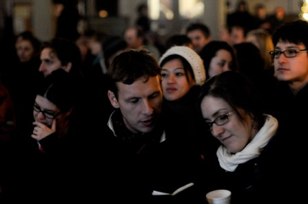 The audience wrap up warm at Shoreditch Church to see Icelandic band amiina perform a live score to Lotte Reiniger animations in 2009