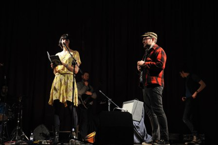 London Short Film Festival's Kate Taylor and Phil Ilson on stage at the Branchage/LSFF