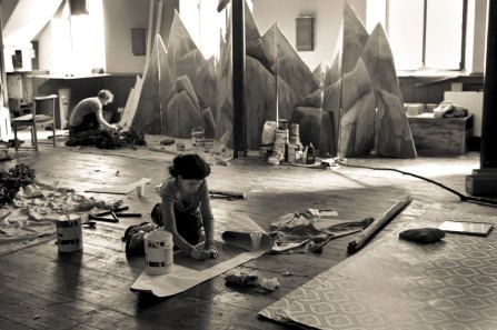 Craftspeople working behind the scenes at St Helier's Aquila Church in preparation for the Bordee d'Branchage in 2011