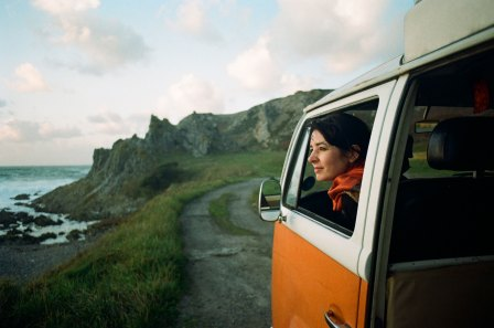 Festival Producer Fiona Fletcher in Festival Programmer Phil's iconic orange VW.