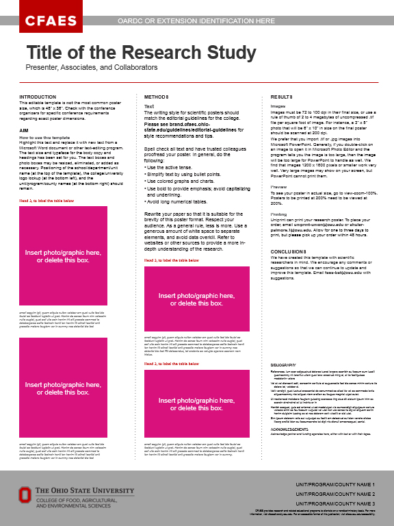 Research Posters The CFAES Brand - research poster