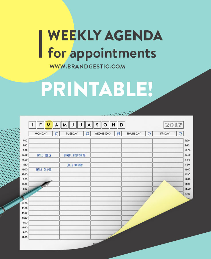 Free Printable Weekly Agenda With Week days For 2017 Ideal For - weekly agenda
