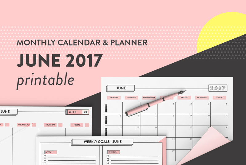 Free Printable Calendar June 2017 Monthly, Weekly  Daily Planner