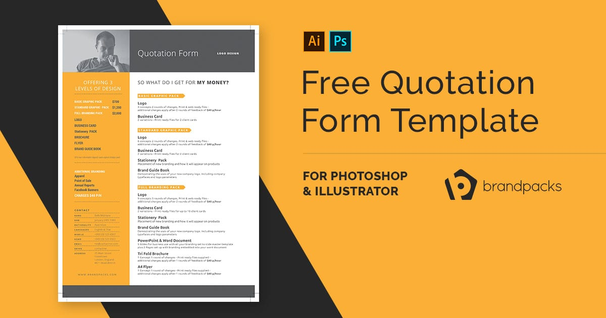 Free Quotation Form Template - PSD, Ai  Vector - BrandPacks
