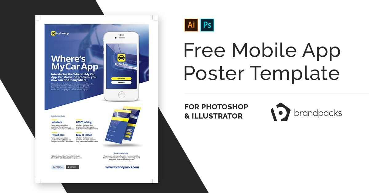 Free Mobile App Poster Template v2 - BrandPacks