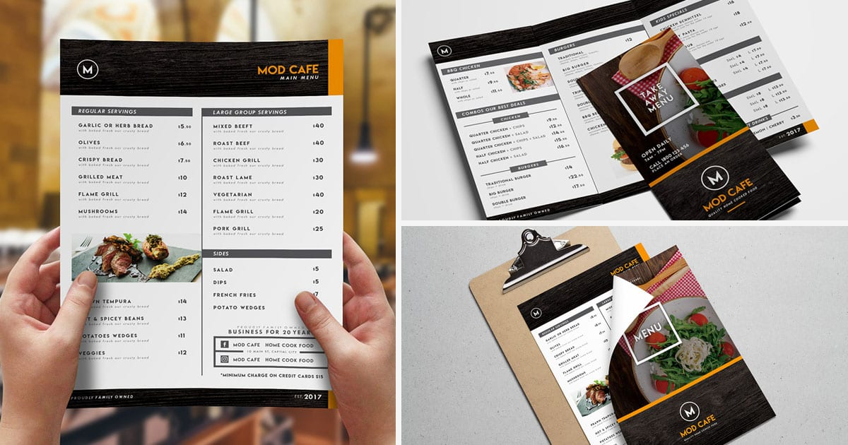 Free Menu Templates Pack Vol3 - PSD / Ai for Photoshop  Illustrator