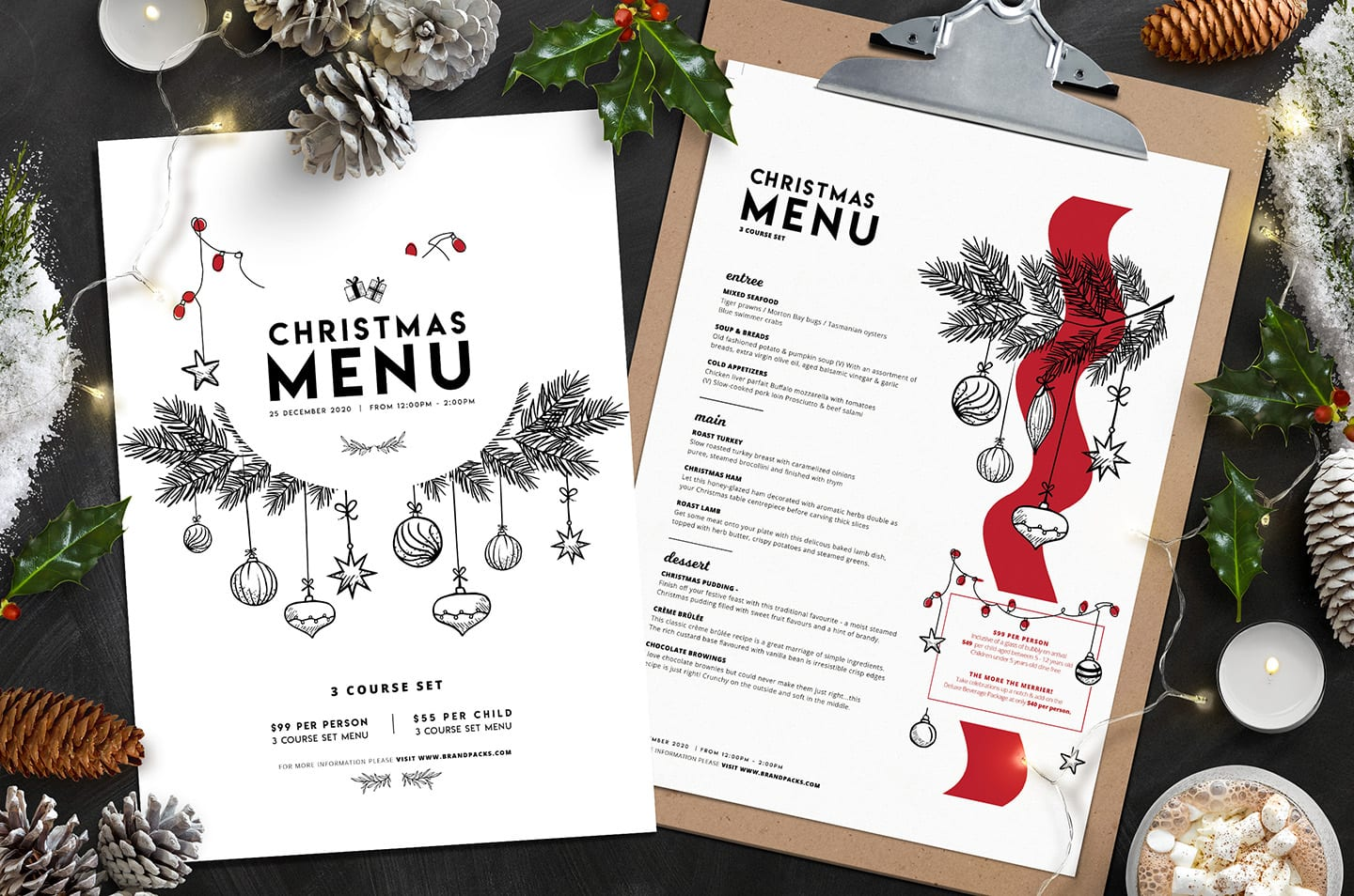 Tavola Drink Menu Christmas Menu Template Vol.3 - Brandpacks