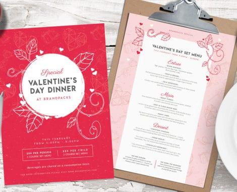 Valentine\u0027s Day Menu Template in PSD, Ai  Vector - BrandPacks