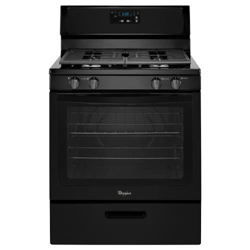 "Cucina A Gas Whirlpool Whirlpool Wfg320m0bb 30"" Black Freestanding Gas Range With"