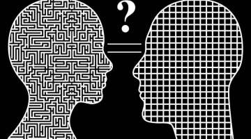 men and women think differently. humorous concept of male and female sign simplicity complexity leading to a big question mark for both of them