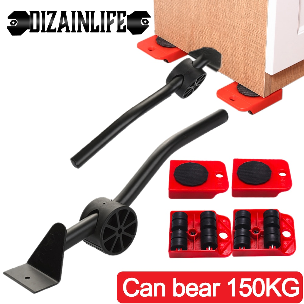 5pcs Set Professional Furniture Transport Lifter Tool Set Furniture Mover Wheel Bar Roller Device Heavy Stuffs Moving Hand Tools Brand Zeeno