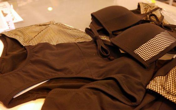 Lepel Swim Helena Triangle Bikini and High Waisted Brief Close-up Black Gold