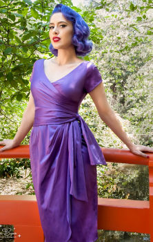 Pin Up Girl Clothing Ava Dress in Grape Purple