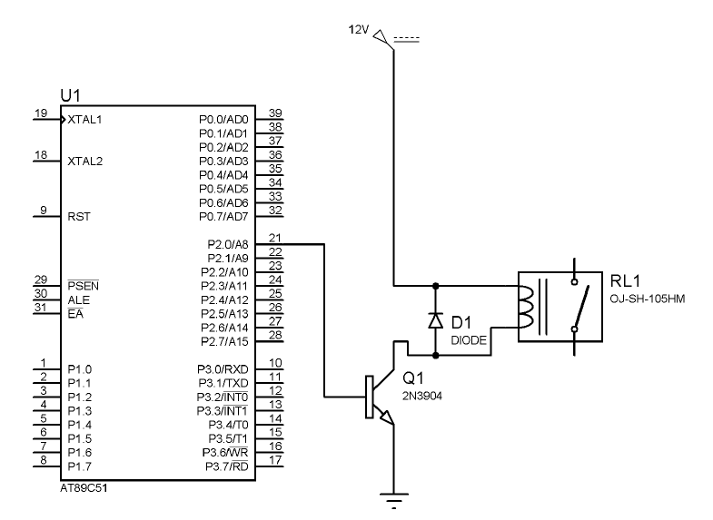 relay circuit with transistor