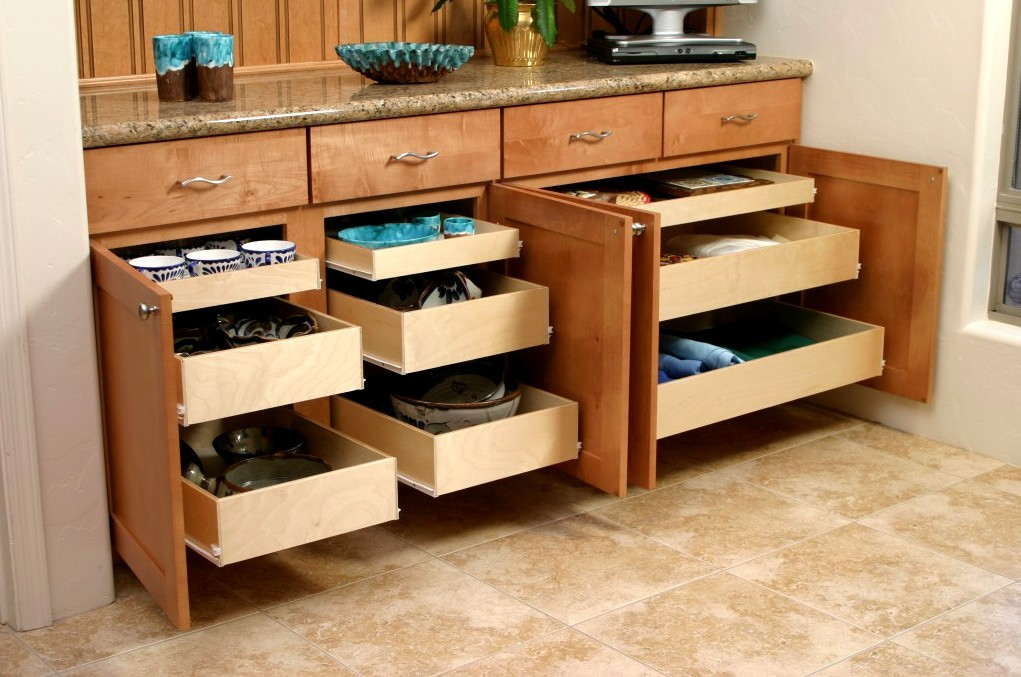 Kitchen Cabinet Drawer Glides Pull Out Shelves | Kitchen Pantry Cabinets | Bravo Resurfacing