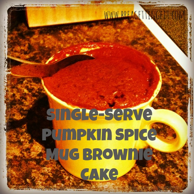less than 5 minutes to an amazingly moist pumpkin spice brownie mug cake for one