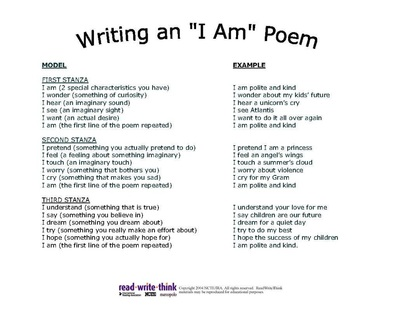 Gallery I Am Poem Examples For 8th Graders