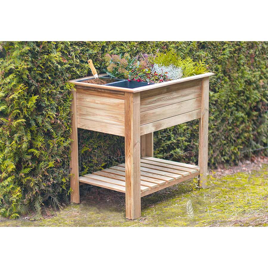 Embadecor W Garden Vegetable Table With Shelf And 6 Plastic Trays