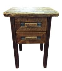 Barn Wood and Tin 2 Drawer Nightstand - Breck Bears