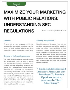 Maximize your marketing with public relations: understanding SEC regulations