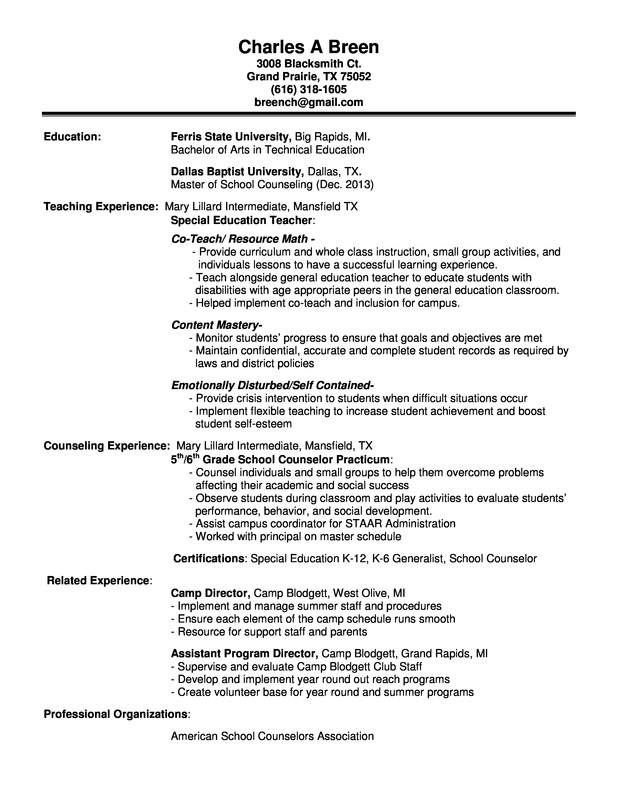 school counseling cover letter