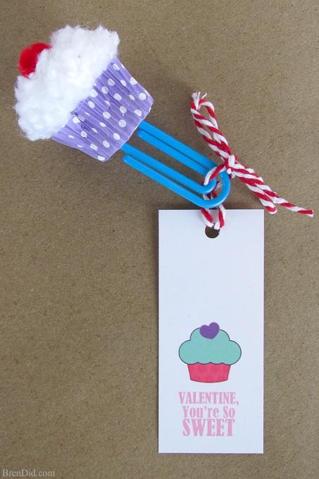 Cupcake Bookmark Craft  Free Printable Valentine Cards - Bren Did