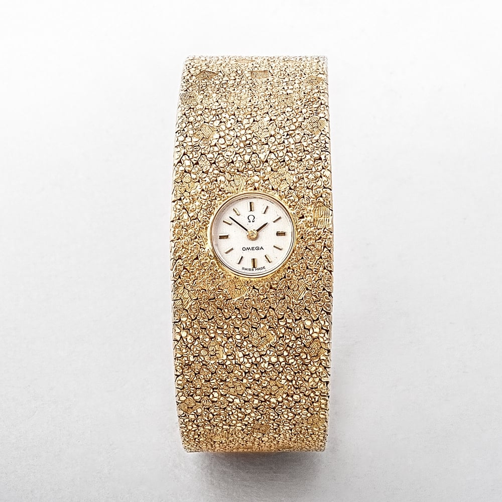 I Watch Ladies Omega 14ct Gold Textured Bangle Ladies Watch