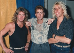 Backstage with Brad Gillis and Jeff Watson of Night Ranger. I didn't get the memo it was snakeskin belt day.