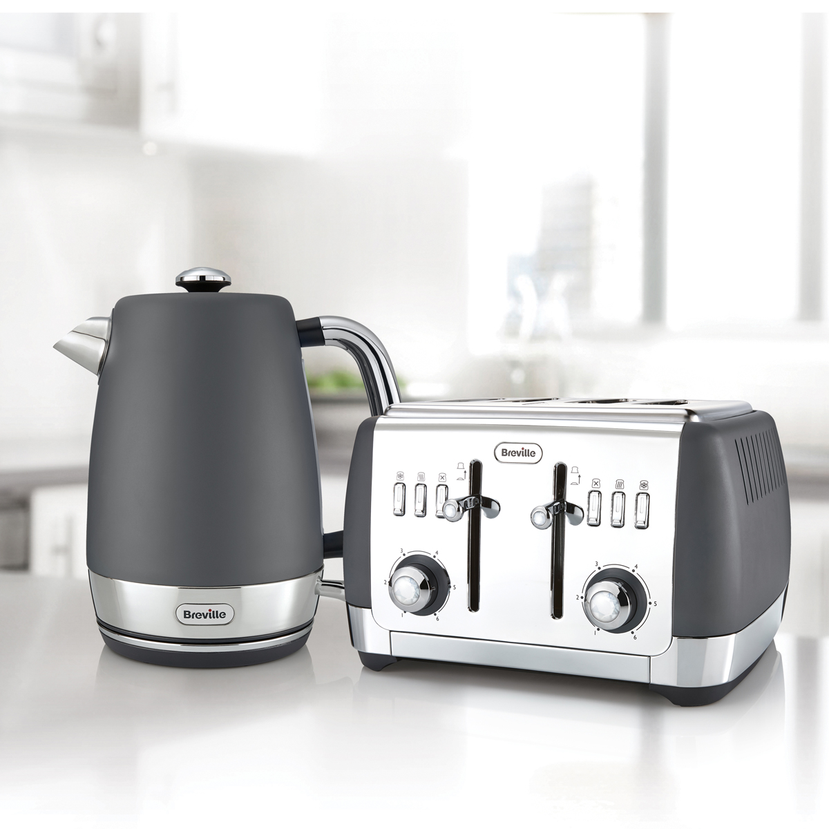 Microwaves Perth Strata Collection Jug Kettle And Toaster Set Grey Strata