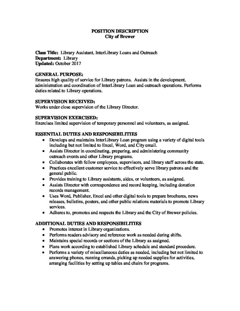 2017 Library Assistant, ILLs job description \u2022 The City of Brewer, Maine