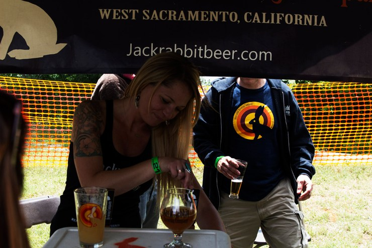 Jackrabbit Brewery pouring a sample