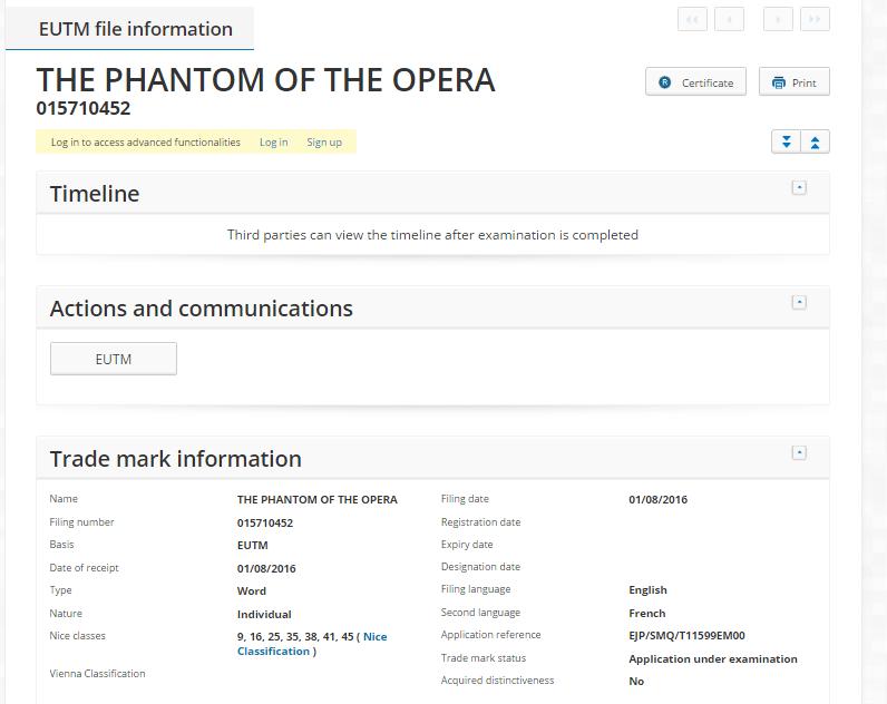 The Phantom of the Opera EUTM